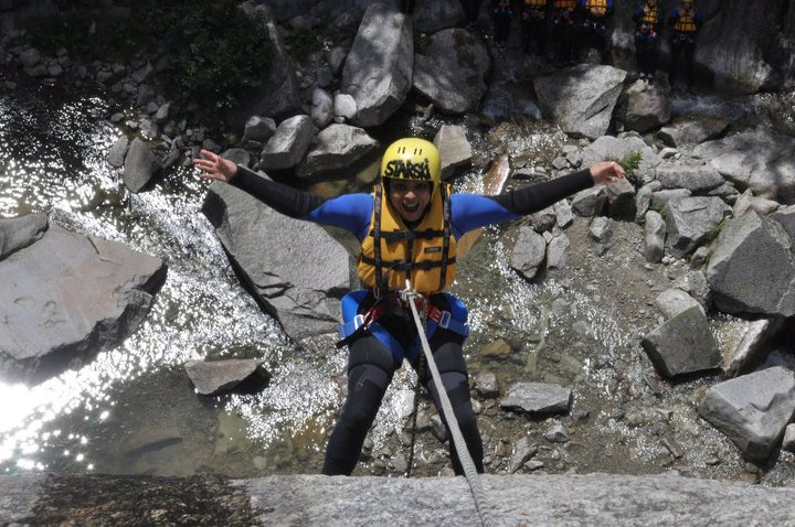 Me- rappelling down with a jump