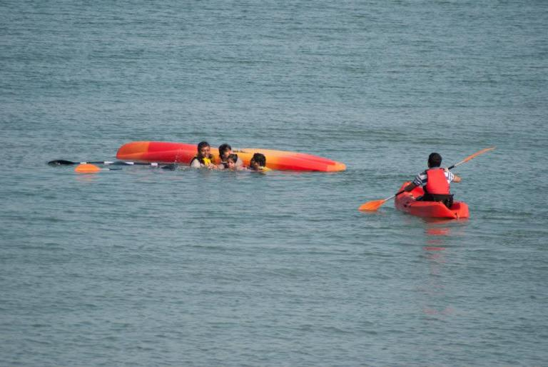 My Another attempt with water sports- Kayking, Resulted in toppled up kayak in the middle of sea. Adventure, Yes when I think about it now ;)