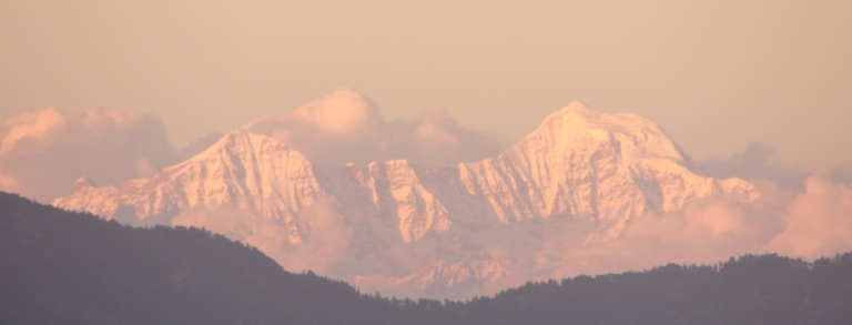"""Himalayas at dusk from Mussoorie, Uttarakhand"" -"